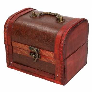 Vintage houten opbergkistje roodbruin 15 cm