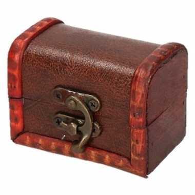 Vintage houten opbergkistje roodbruin 8 cm
