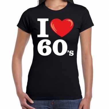 Vintage i love 60s / sixties t-shirt zwart dames