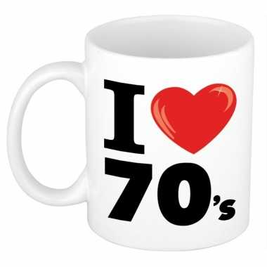 Vintage i love 70 s beker mok 300 ml