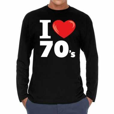 Vintage i love 70s / seventies long sleeve t-shirt zwart heren