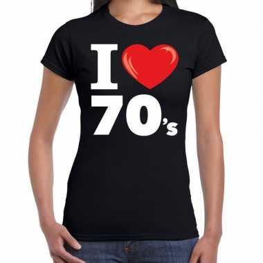Vintage i love 70s / seventies t-shirt zwart dames