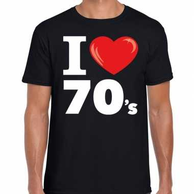 Vintage i love 70s / seventies t-shirt zwart heren