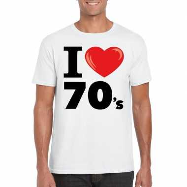 Vintage i love seventies t-shirt wit heren