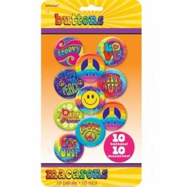 Vintage jaren 60 hippie buttons 10 stuks