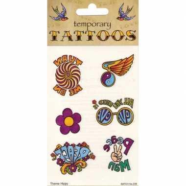 Vintage jaren 60 hippie tattoos 6 stuks