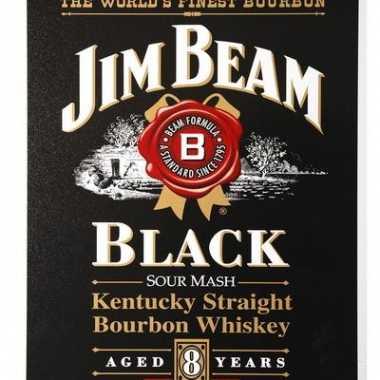 Vintage jim beam black bourbon muurplaat