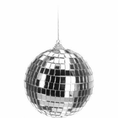 Vintage kerstboom decoratie discobal zilver 10 cm