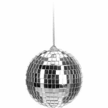 Vintage kerstboom decoratie discobal zilver 6 cm