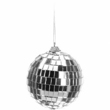 Vintage kerstboom decoratie discobal zilver 8 cm