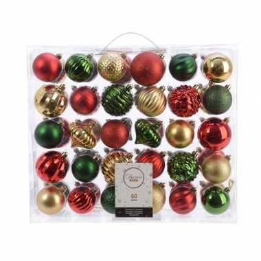 Vintage kerstversiering kerstballen set dennen groen/ goud/rood 60 de