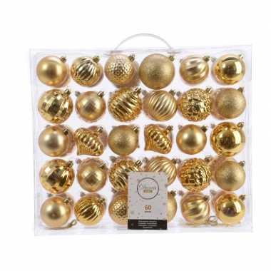 Vintage kerstversiering kerstballen set goud 60 delig kunststof