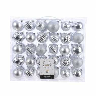 Vintage kerstversiering kerstballen set zilver 60 delig kunststof