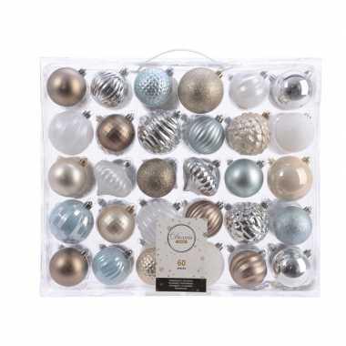 Vintage kerstversiering kerstballen set zilver/champagne/blauw/bruin