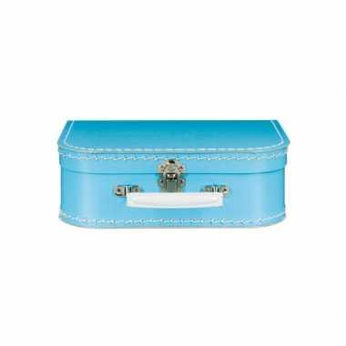 Vintage koffertje blauw 25 cm