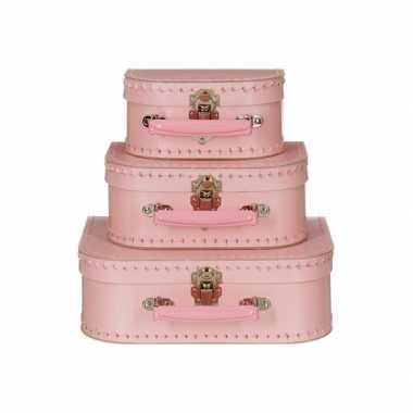 Vintage koffertje licht roze 20 cm