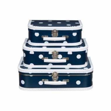 Vintage koffertje navy polka dot 30 cm