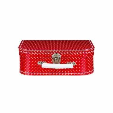 Vintage koffertje rood met witte stippen 25 cm