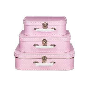 Vintage koffertje roze met stippen wit 25 cm