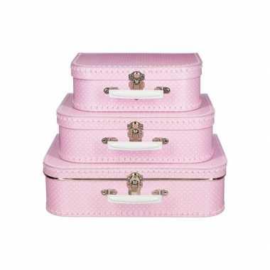 Vintage koffertje roze met stippen wit 35 cm