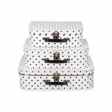 Vintage koffertje wit met zwarte stippen 30 cm