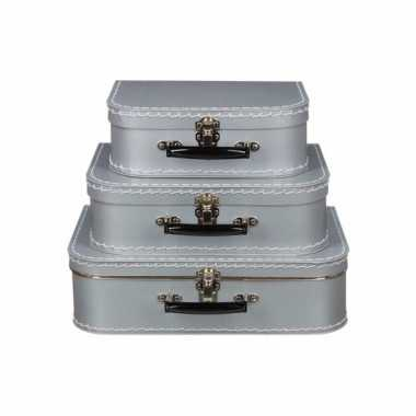 Vintage koffertje zilver 25 cm