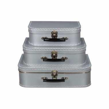 Vintage koffertje zilver 30 cm