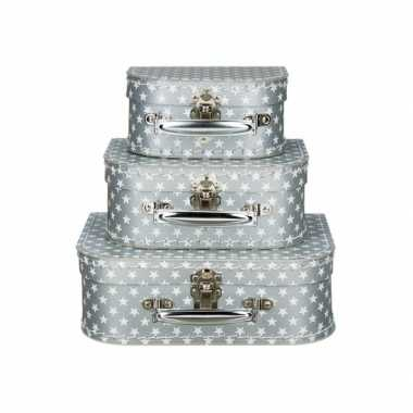 Vintage koffertje zilver sterren 16 cm
