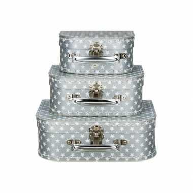 Vintage koffertje zilver sterren 20 cm