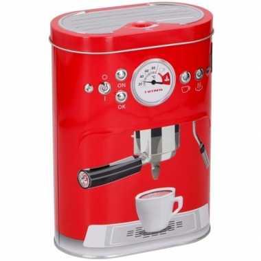 Vintage koffie bewaarblik rood 17 cm