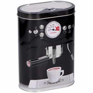 Vintage koffie bewaarblik zwart 17 cm