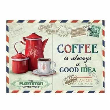 Vintage koffie retro muurplaat coffee is always a good idea 15 x 20 cm