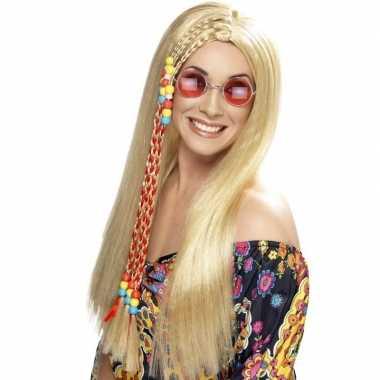 Vintage lange blonde hippie pruik voor dames