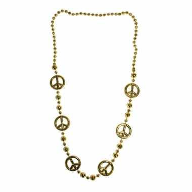 Vintage lange gouden ketting peace