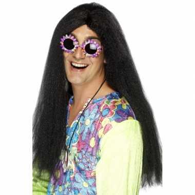 Vintage lange hippie heren pruik