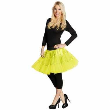 Vintage lange tule petticoat dames neon geel
