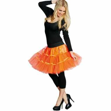 Vintage lange tule petticoat dames neon oranje