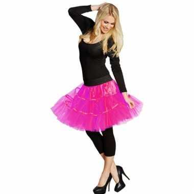 Vintage lange tule petticoat dames neon roze