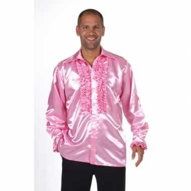 Vintage luxe rouches blouse lichtroze