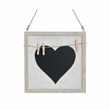 Vintage memo krijtbord met hart en knijpertjes 25 cm