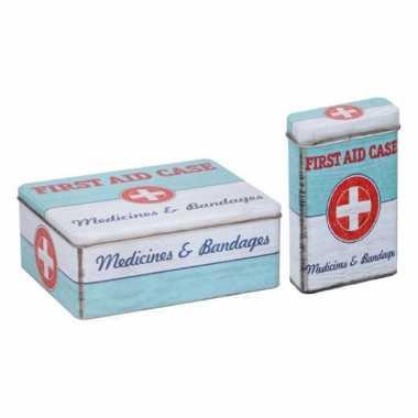 Vintage metalen verbandtrommel/bewaarblik met pleisterdoosje first aid retro print mint groen / wit