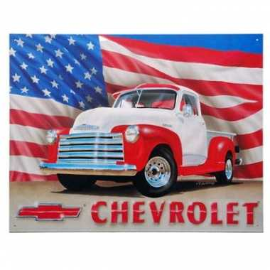 Vintage metalen wandplaat chevrolet usa