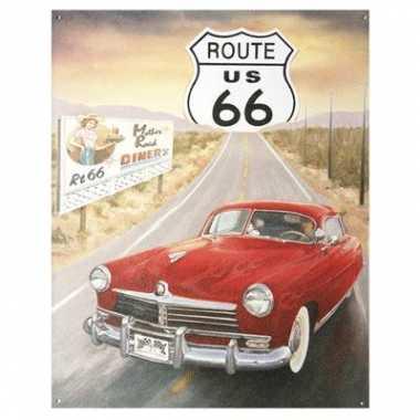 Vintage metalen wandplaat route 66 us auto