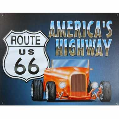 Vintage metalen wandplaat route us 66 muscle car