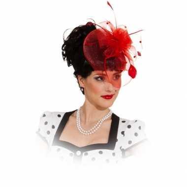 Vintage mini hoed met rode rozen op kam