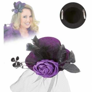 Vintage mini hoed met roos en sluier paars