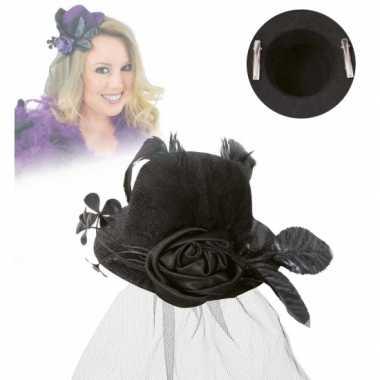 Vintage mini hoed met roos en sluier zwart