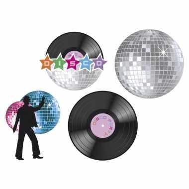 Vintage muur decoratie disco set van 4 st.