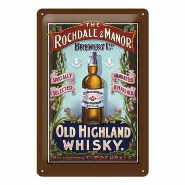 Vintage muurdecoratie whisky 20 x 30 cm
