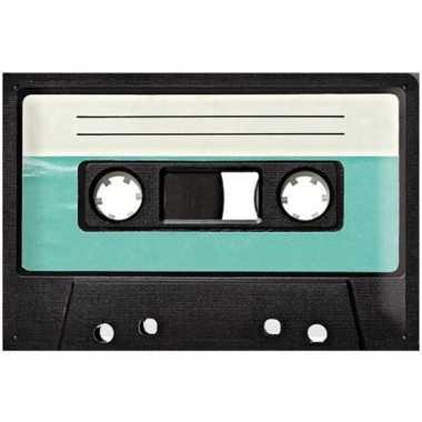 Vintage muurplaat cassette 20 x 30 cm